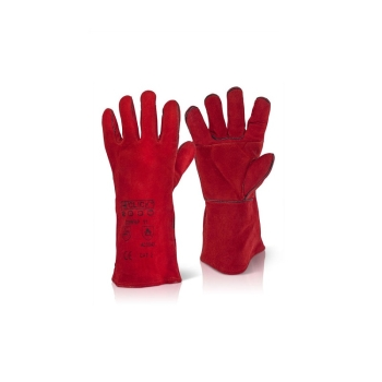 Welding Gauntlet Red Safety Gloves
